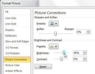 how to make a picture brighter in powerpoint 2010