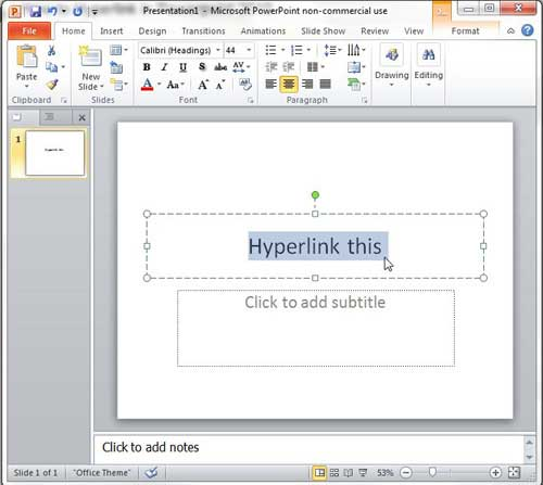 select the object you want to hyperlink