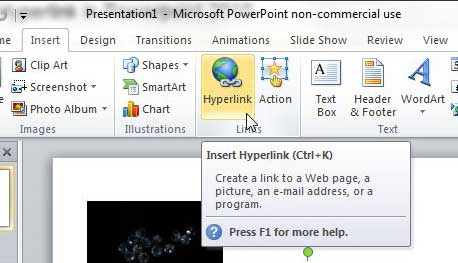 how to hyperlink in powerpoint 2010