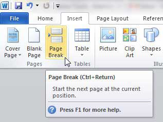 how to insert a page break in word 2010