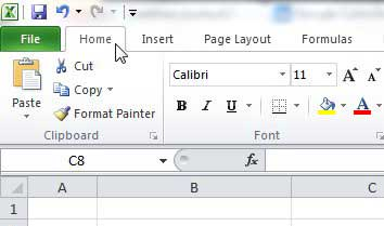click the Excel Home tab