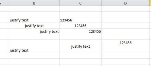 how to justify text in excel 2010