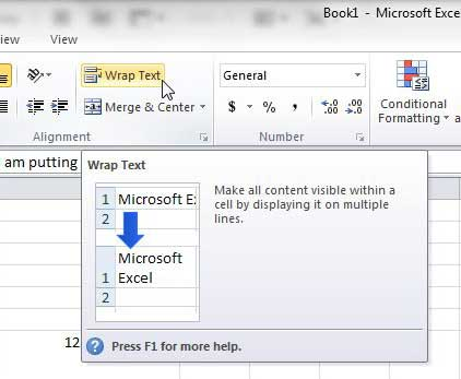 using wrap text in excel 2010