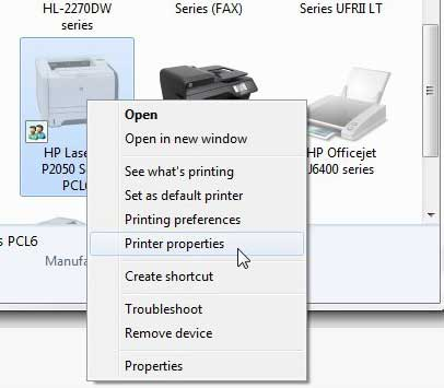 p2050 printer properties