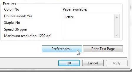 laserjet 2055 set preferences