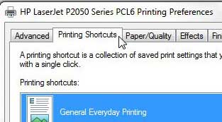 laserjet 2055 printing shortcuts tab