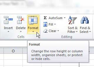 click format in the cells section