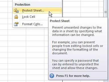 protect excel 2010 sheet