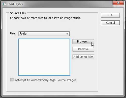 browse to the files to load as layers