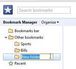 create a new bookmark folder