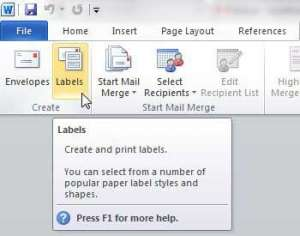 how to print address labels from word 2010