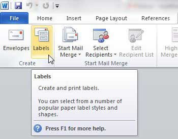 print labels from word 2010