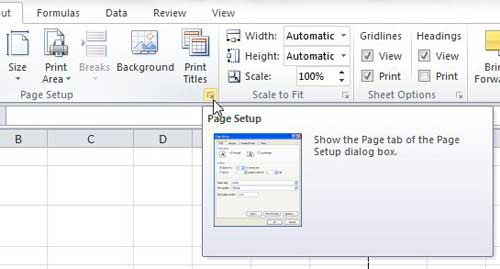 excel 2010 page setup button