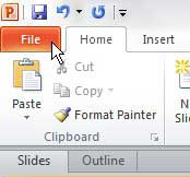 click powerpoint 2010 file tab