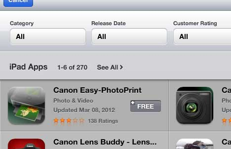 download and install the canon ipad app