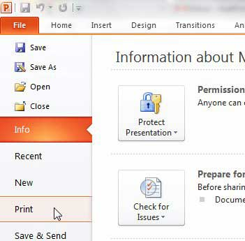 open the powerpoint 2010 print menu