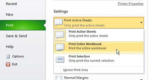 how to print an entire excel 2010 workbook