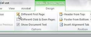 remove the page number form a title page in word 2010