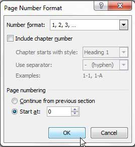 choose page number to start at