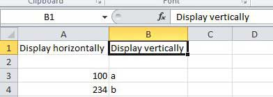 excel how to write vertically