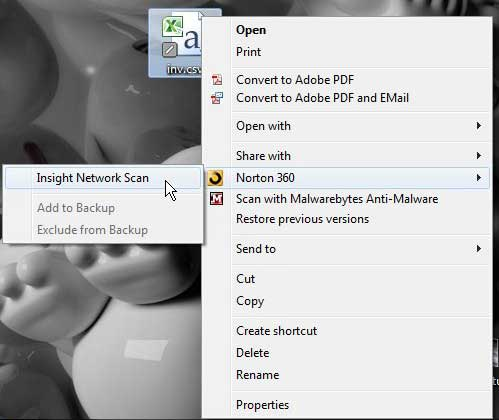 how to scan an individual file with Norton 360