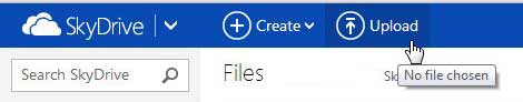 click the skydrive upload button