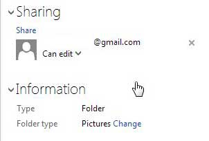 view sharing properties of file in skydrive