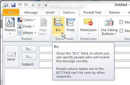how to show the bcc field in outlook 2010