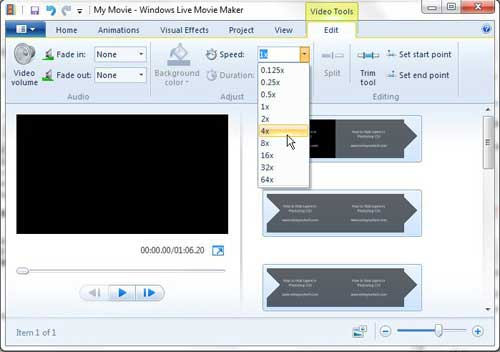 how to speed up a windows live movie maker video