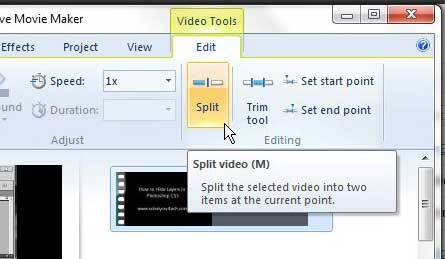 how to split a clip in windows live movie maker