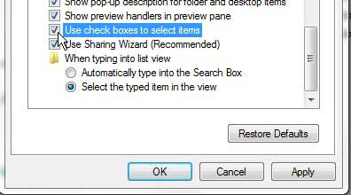 how to use check boxes to select files in windows 7
