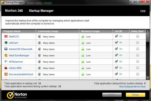 how to use norton 360 to manage startup programs