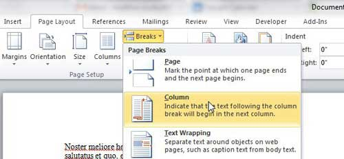 use a column break to move to another column in word 2010