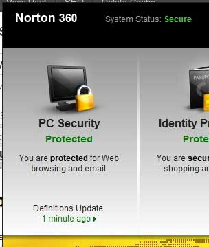 norton 360 pc security section