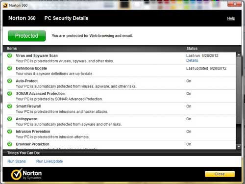 how to view the details of norton 360 protection