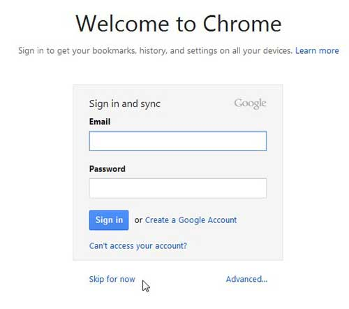 enter google account info