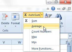how to average a group of cells in excel 2010