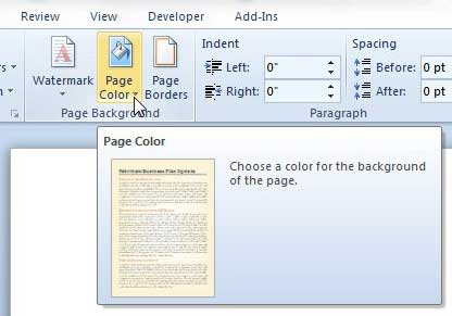 Page Color Drop Down Menu