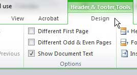 word 2010 header and footer tools tab
