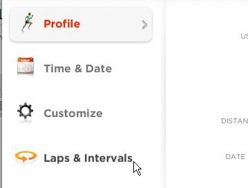 open nike connect laps and intervals menu