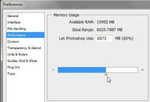 how to change the amount of memory that photoshop cs5 uses