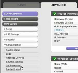 how to change the router password on the netgear n600