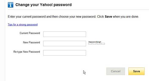 replace old yahoo password