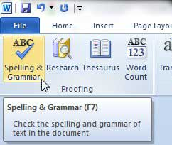 how to do a grammar check in word 2010