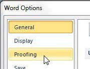 word 2010 proofing tab