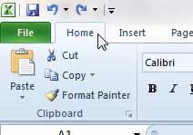 click the excel 2010 home tab