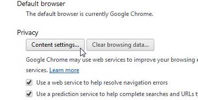 chrome privacy content settings button