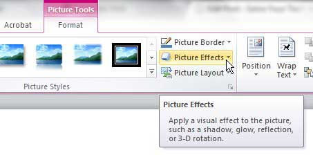 how to add a drop shadow to a picture in word 2010