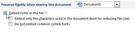 how to embed fonts in word 2010 files