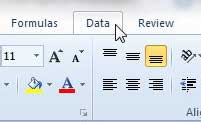 excel 2010 data tab